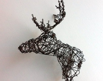 Unique Wire Deer Sculpture - DEER HEAD VII
