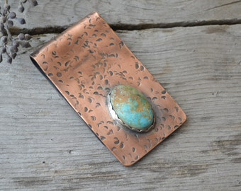 custom money clip // men's copper card holder //pilot mountain turquoise //