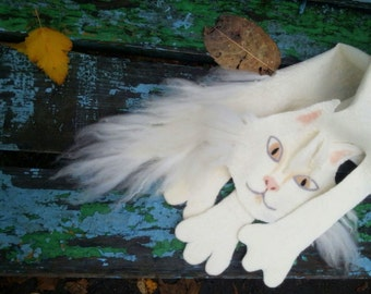 The white Cat. Soft wet felted art scarf, unique children's and adult winter garment, OOAK