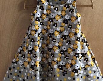 Spring/Summer Cotton Polka Dot Shoulder Tie Dress, girls size 6