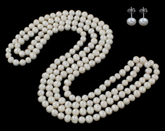 pearl set- 45inch / 60inch 7-8mm white pearl long necklace earring set -US E-packet shipping service 7-15 days delivery