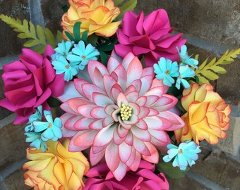 Sunrise paper flower bouquet, paper flower arrangment