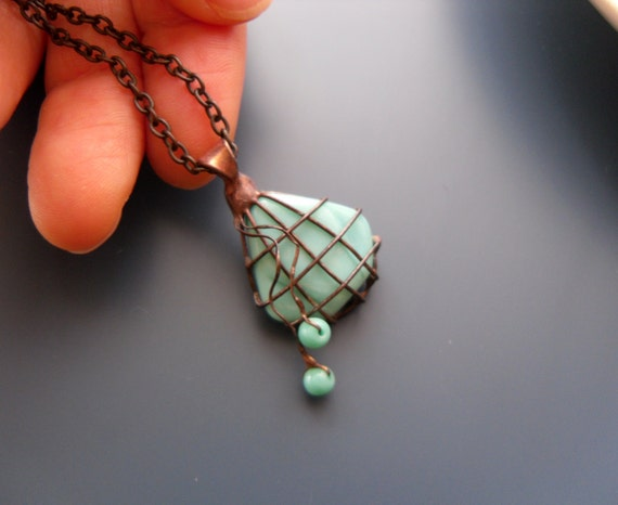 Wire pendant, contemporary jewelry, bohemian necklace, turquoise beaded, artistic jewelry, funky pendant, gift for women, Bead bag