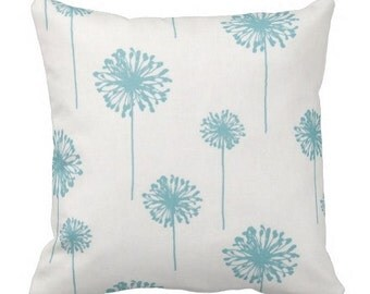 decorative pillows, dandelion pillows, floral pillows, blue pillow covers, floral pillow cover, throw pillow cover, couch pillow cover