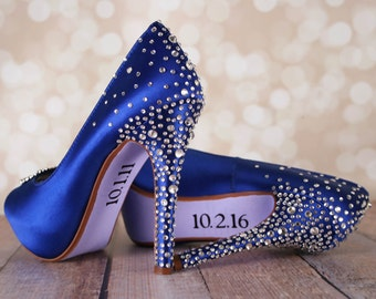 Custom Wedding Shoes, Something Blue Shoes, Crystal Wedding Shoes, Crystal Heels, Blue Bridal Shoes, Blue Wedding Shoes, Something Blue