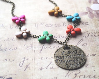 Butterfly Necklace. Vntage medal necklace. Turquoise necklace. Ready to ship. Christmas gift. Unique necklace
