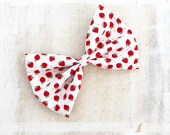 White with cute strawberry print hair large bow Rockabilly Pin Up