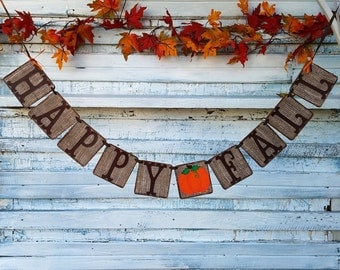 Burlap Fall Decor, Happy Fall Banner, Pumpkin Banner, Rustic Fall Decor, Fall Mantle Decor, Classroom Decor, Office Party Decor, Autumn