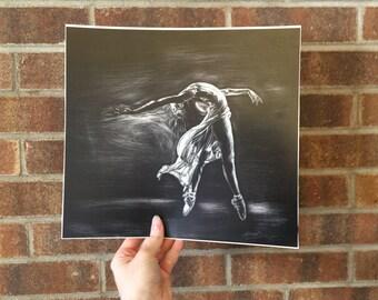 Ballerina Dancing, Scratchboard - Artist Print