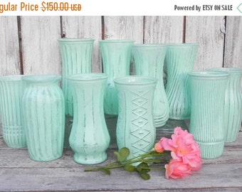 ON SALE Mint Collection of Large Shabby Chic Painted Vases for Weddings, Showers, Events, Home Decor