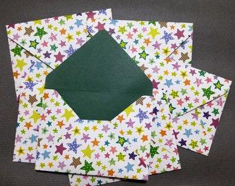 Card Envelope - Star -Handmade - 5 1/4 in x 4 in (13.5 cm x 10 cm) - Set of 6