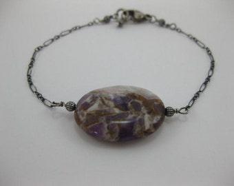 Rough Amethyst - Oxidized Sterling Silver Bracelet - 3162
