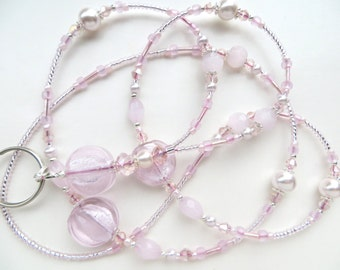 SOFT PINK- Beaded ID Lanyard Badge Holder- Glass Pearls, Pink Quartz, and Sparkling Crystals (Magnetic Clasp or Comfort Created)
