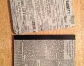 "Set of 2 VINTAGE NEWSPRINT Custom Mini Journals -3.25""x4.5"""