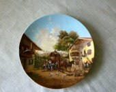 Wall Hanging Ceramic Plate - 1986 Limited Addition Christian Luckel  Idyllic Village Life Collection, signed, Excellent Condition Great Gift