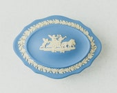 Vintage Wedgwood Blue Trinket Jewellery Box Jasperware Excellent Condition Beautiful Gift