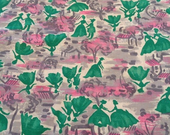 Green Dresses Pink Tree and Grey Skies Vintage Print Fabric