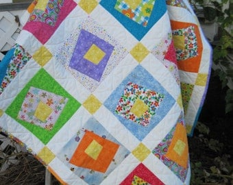 Quilt Handmade Baby Crazy Cotton Print Fabrics, Infant Crib Bedding, Toddler Quilt, Girl Bedding Orange Yellow Blue Green Purple Red Pink