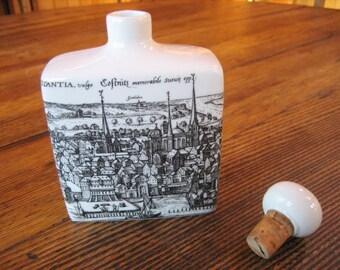 Altenkunstadt German Ceramic Decanter Bottle Corked Top Flask Pen Ink Illustrated Map