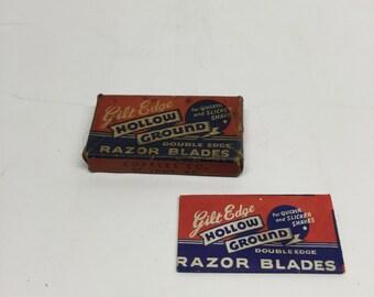 Gilt Razor Blades Edge Hollow Ground Double Edge 3 Blades Original Box Vintage