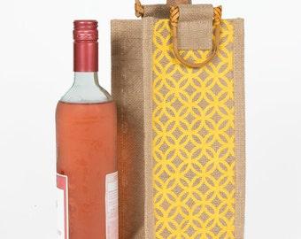 Burlap Wine Bottle Gift Bag