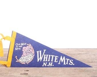 1950s White Mts. N.H. Pennant / Vintage Felt Pennant / Pennant Banner / Pennant Flag / Blue and Yellow Pennant / Wall Pennant Decor