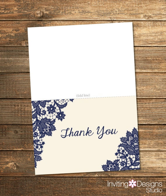 Wedding Shower Thank You Card - Navy Lace