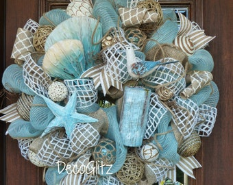 Turquoise and Burlap BEACH WREATH