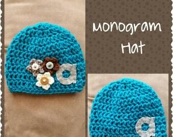 Crochet Monogram Hat- Felt Monogram Letter- Newborn to Adult