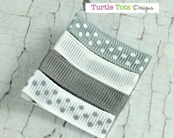 ON SALE Grey and White Baby Hair Clips - Simple Alligator Hair Clip - No Slip Grip - Baby, Girl, Toddler, Children