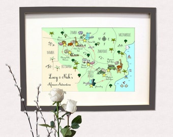 Custom Gift Map | Personalized Map | Hand Drawn Map | Travel Map | Anniversary Gift | Vintage Map | Map Design | Travel Gift