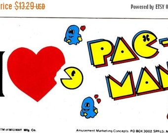 ON SALE Rare Pacman and Ghost Vintage Bumper Sticker - Retro 1982 Midway Video Game Atari Pac Man Heart