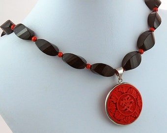 Cinnabar Coral Onyx Natural Stone Pendant Necklace
