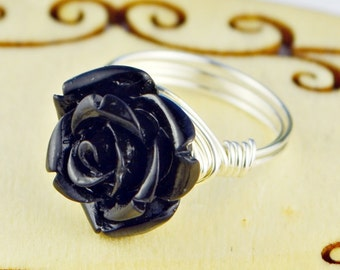 Black Rose Ring- Sterling Silver or Gold Filled Wire Wrapped Ring with Black Acrylic Rose - Any Size 4, 5, 6, 7, 8, 9, 10, 11, 12, 13, 14
