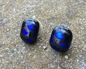 Mermaid scales glass stud earrings in deep ocean blue