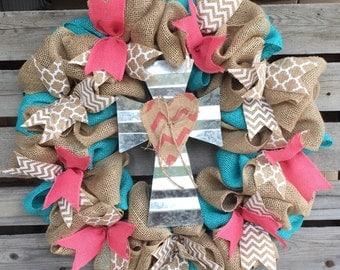 Burlap Wreath, Door Hanger, Coral and Aqua Wreath, Housewarming Gift, Rustic Home Decor, Cross Wreath, Personalized, Coral Decor, Spring