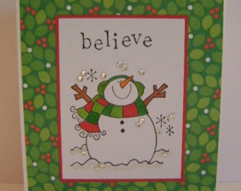 Value Priced *** Believe*Snowman*Holly note card
