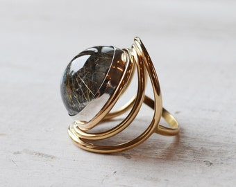 Rutilated Quartz Hematite Ring, Crystal Globe 14K Gold Ring, Round Gemstone Ring, Fine Jewelry, Gold Stone Ring, Grey & Gold Statement Ring