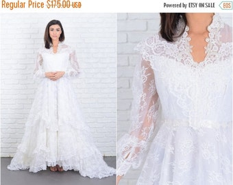 ON SALE Vintage 70s White Wedding Dress Train Floral lace Beaded Tiered XS 6883 vintage dress 70s dress white dress beaded dress xs dress