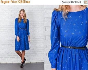 ON SALE Vintage 80s Blue Retro Dress Floral Print Puff Sleeve Knee length Long Sleeve xs 7817
