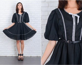 Vintage 70s Tiered Dress Black Puff Sleeve Lace Ruffle Boho Small S 6823 vintage dress 70s dress tiered dress black dress small dress