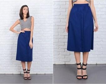 Vintage 80s Navy Blue Retro Skirt High Waist Linen Cotton High Waist A line S 6865 vintage skirt 80s skirt navy blue skirt small skirt