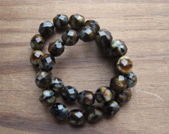 Chroust 8mm Firepolish Faceted Beads Round Czech Glass Opaque Black Brown Gray Multicolor (30)