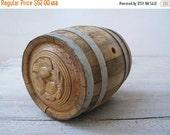 CIJ 20% Vintage Wood Small Wine Barrel, Rustic wooden Metal Artisan Handcarved Counter Barrel, Man Cave Barware Decanter Home Bar Decor Gift