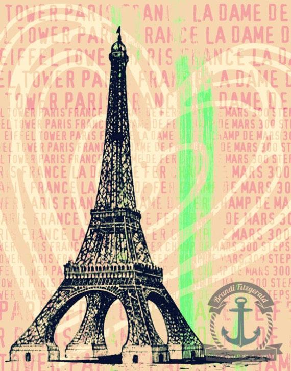 Pink Eiffel Paris France Landmark Typography Product Options and Pricing via Dropdown Menu