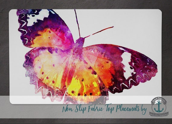 Placemat - Butterfly II | Watercolor Nature Insect Decor | Anti Skid/Non Slip Fabric Top Rubber Backed Awesomeness