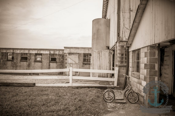 Dairy Barn in Sepia | Down on the Farm | Farmhouse Wall Decor