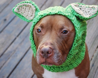 Dog Snood Crochet Green Lamb MADE TO ORDER