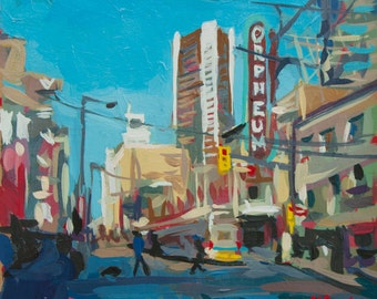 "Acrylic Cityscape Painting on Paper // The Orpheum (Vancouver no. 41) // 7"" x 7"" // Original painting by Joanne Hastie"