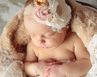 Blush Pink and Gold Elastic Headband - Fabric Flower Headband - Infant Headband, Baby Headband, Pink Headband, Gold Headband